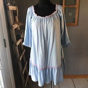 aerie Blue Pink Stitched Ruffle Baby Doll Tunic S